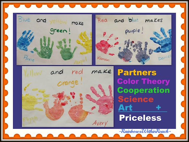 Color Theory explained through Painted Handprints with Partner