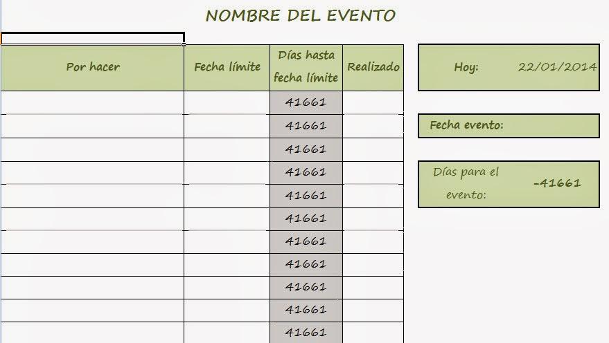 una ovejita más: Plantilla Excel para organizar eventos, fiestas y otros