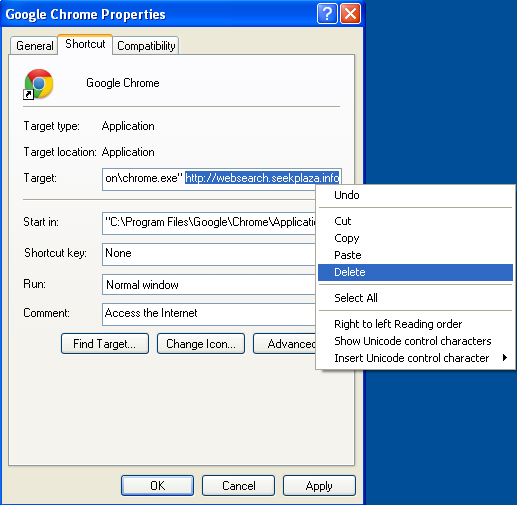 Malicious properties shortcut Websearch.seekplaza.info