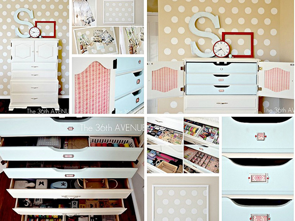Painted hutch craft closet from the 36th Avenue - If you loved painted furniture or are thinking about using Chalk paint on furniture for the first time then you should check this post full of 25 incredible makeoevers. 25 Fabulous painted furniture ideas!