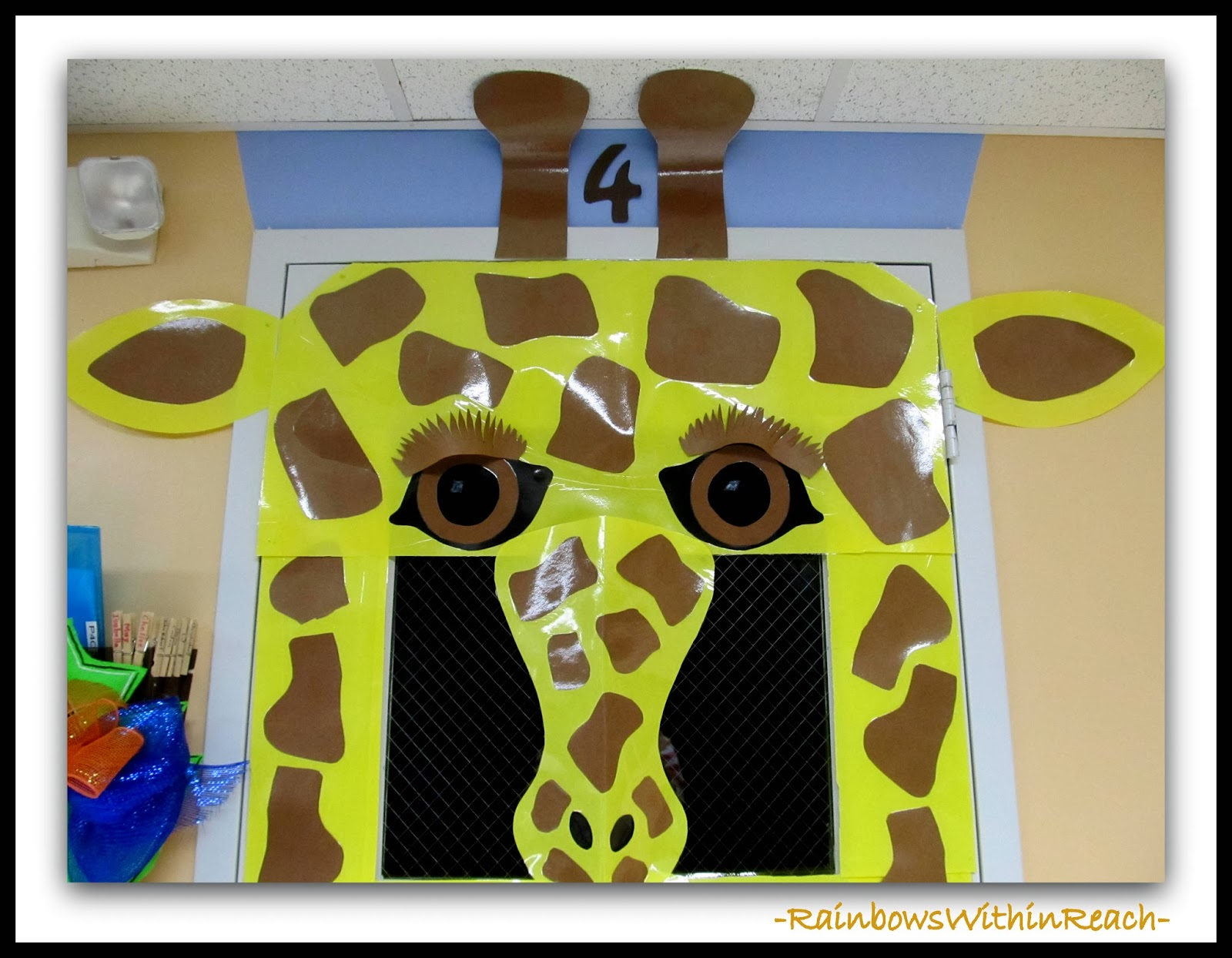 Decorated Classroom Door for Giraffe Theme (face detail) via RainbowsWithinReach
