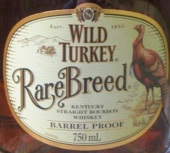 Pure Straight Bourbon Whiskey.  Wild Turkey Rare Breed.