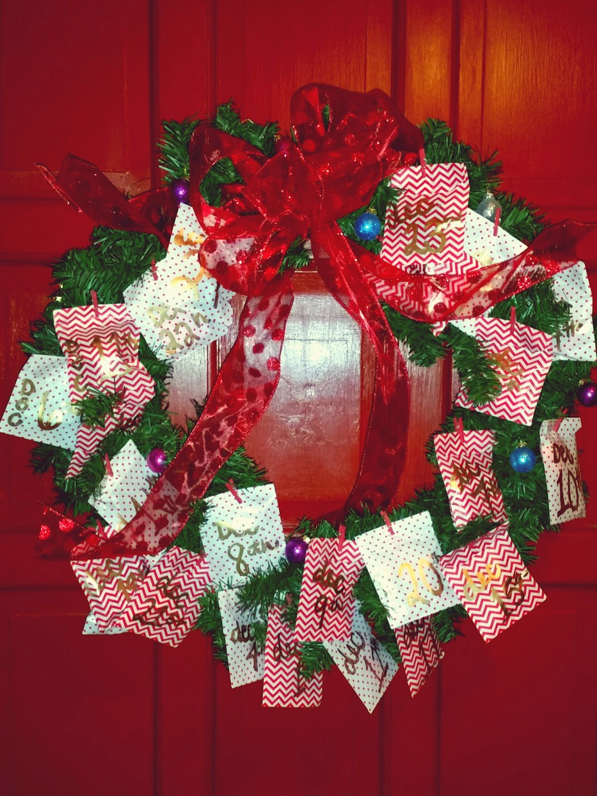 for the love of character countdown christmas wreath
