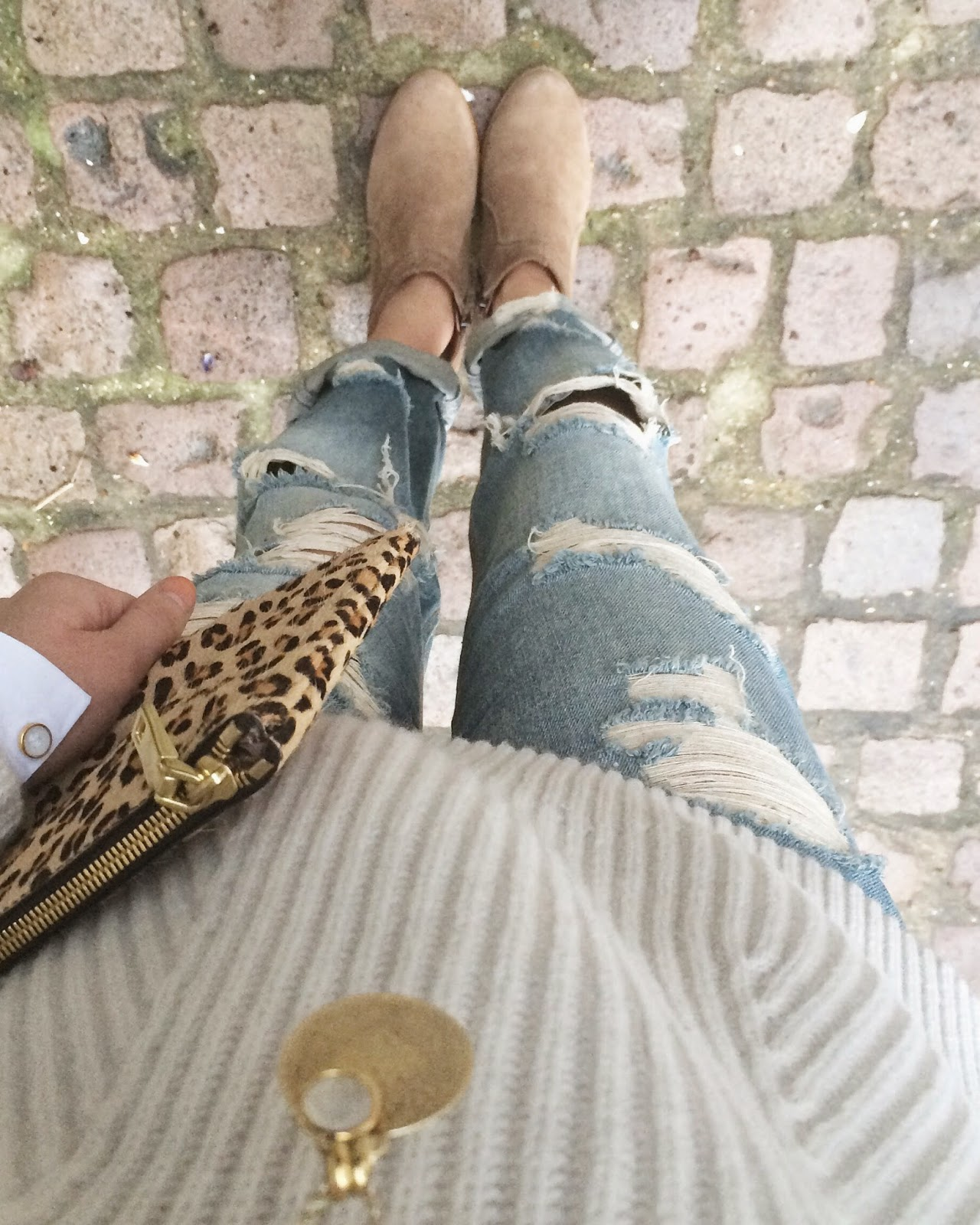 leopard print clutch, j crew clutch, gap cable knit jumper, cream white jumper, monica vinader pendant necklace, asos boyfriend jeans, russell and bromley ankle boots, isabel marant dickers boots