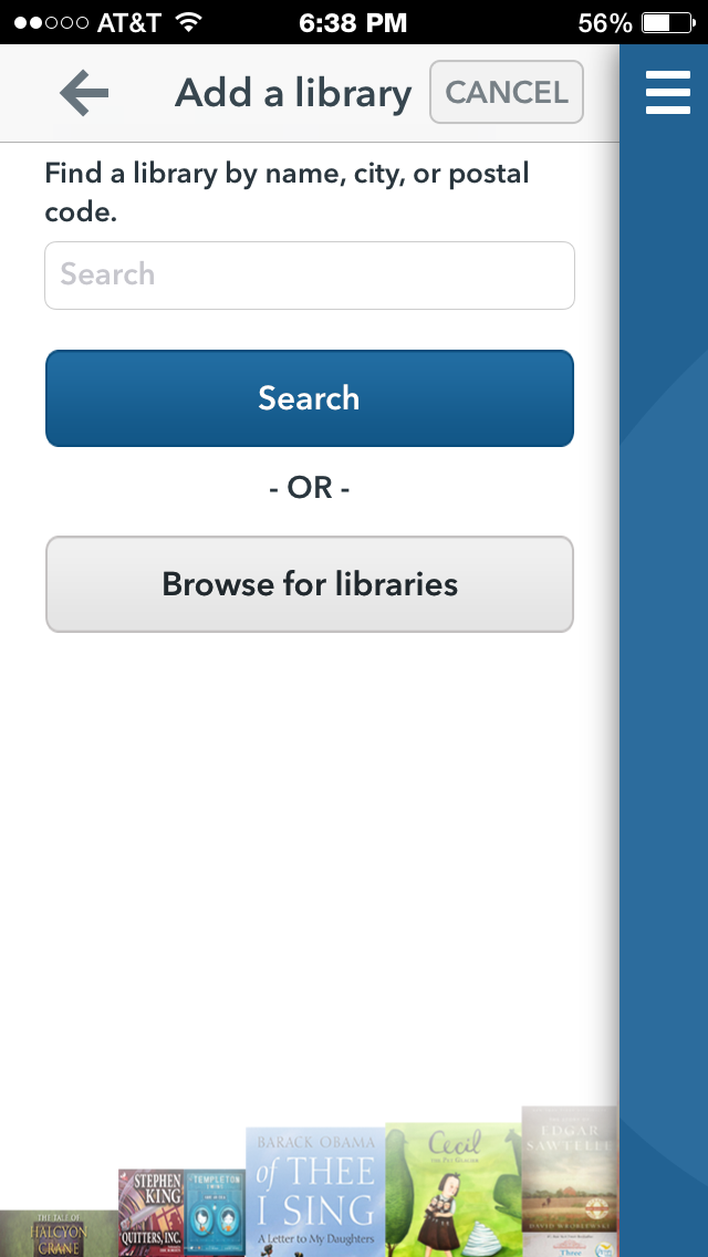 screenshot of OverDrive app prompt to search for library