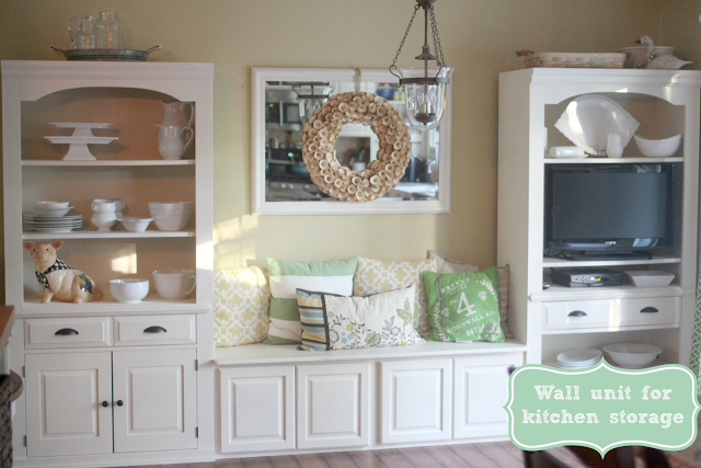 Broyhill wall unit repurposed for kitchen storage and eating nook via www.goldenboysandme.com