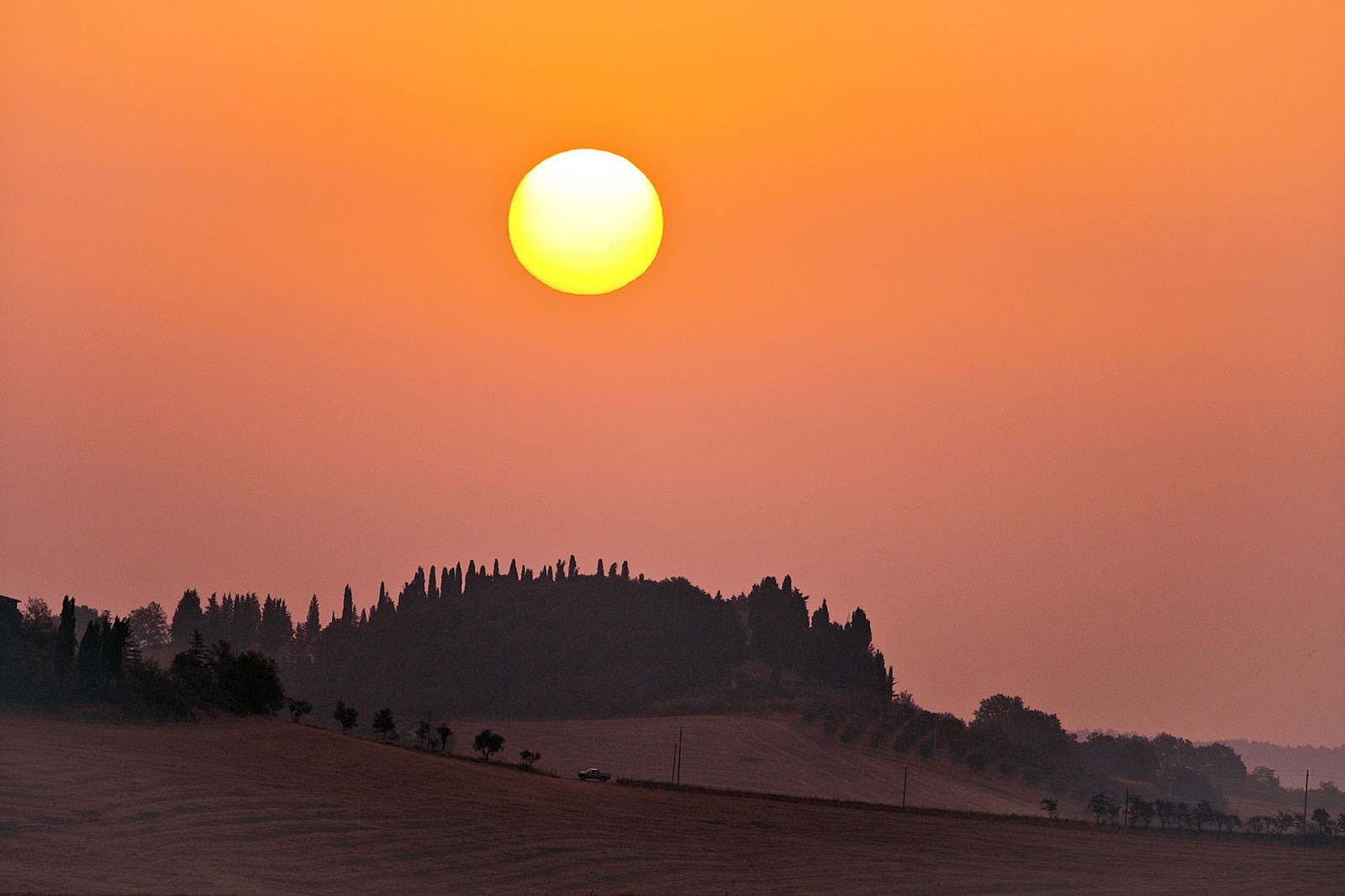 Spectacular Tuscan sunset seen in Montecatini Alto, Italy.