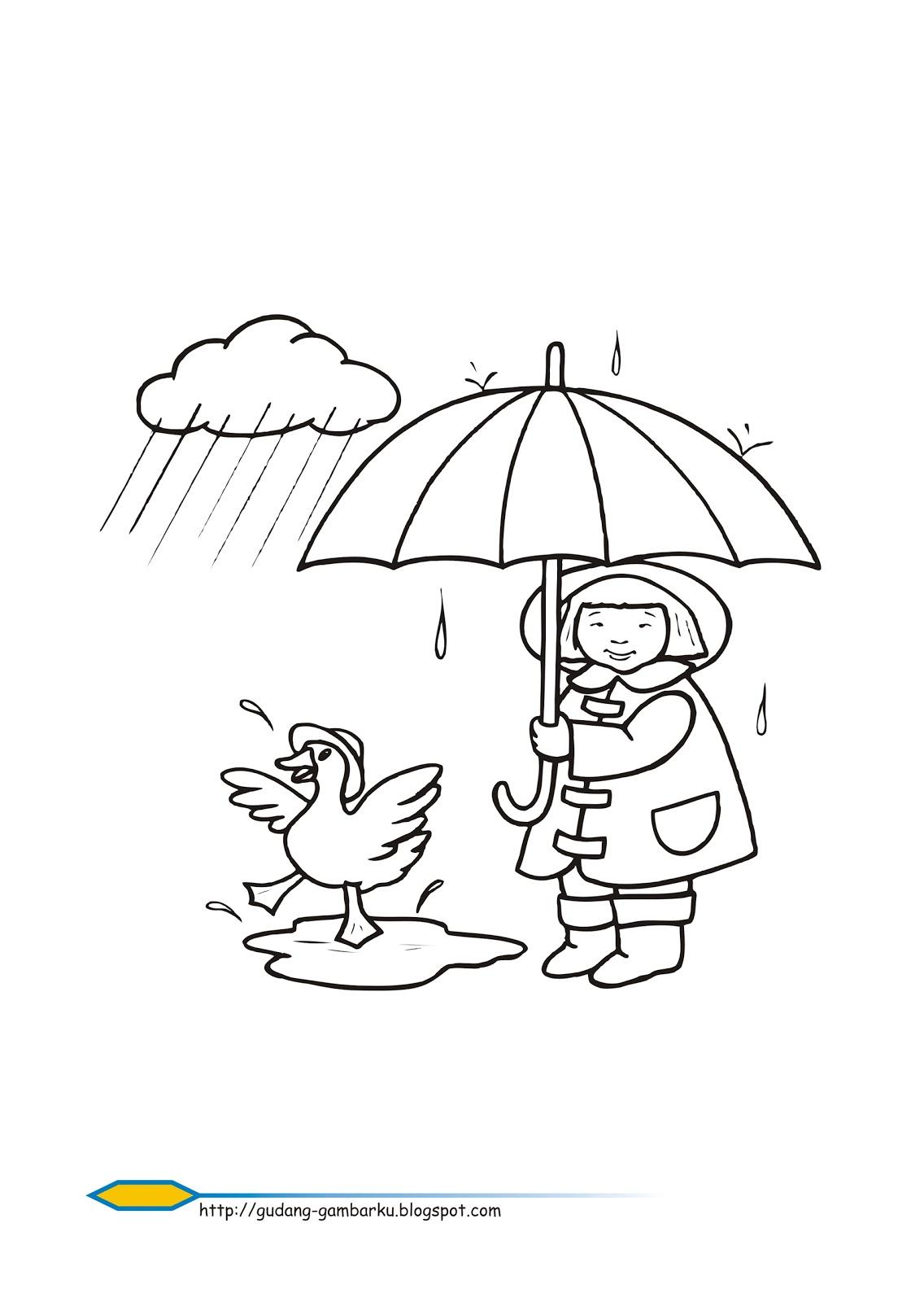 Mari Belajar Mewarnai Hujan Gambar