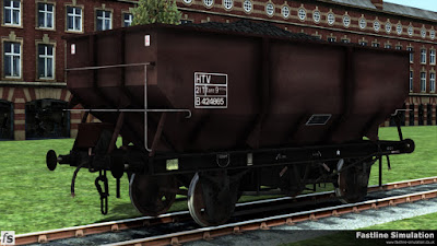 Fastline Simulation: A weathered rebodied dia. 1/146 21t hopper in maroon livery.
