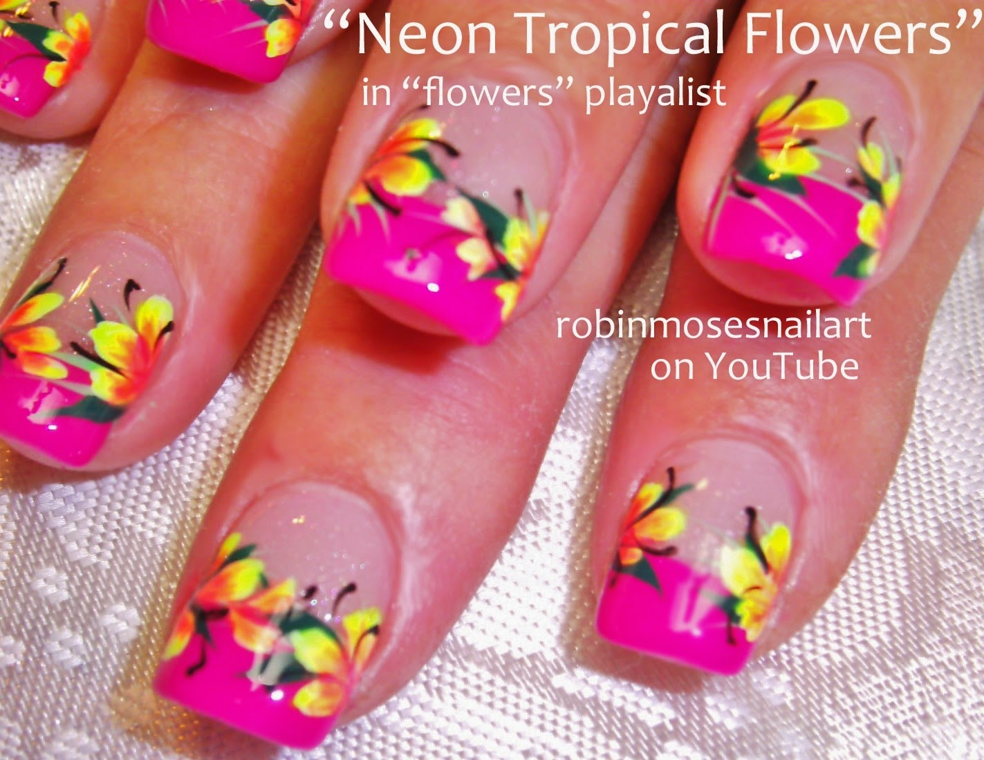 The Glamorous Hibiscus flower nail art pink Digital Imagery