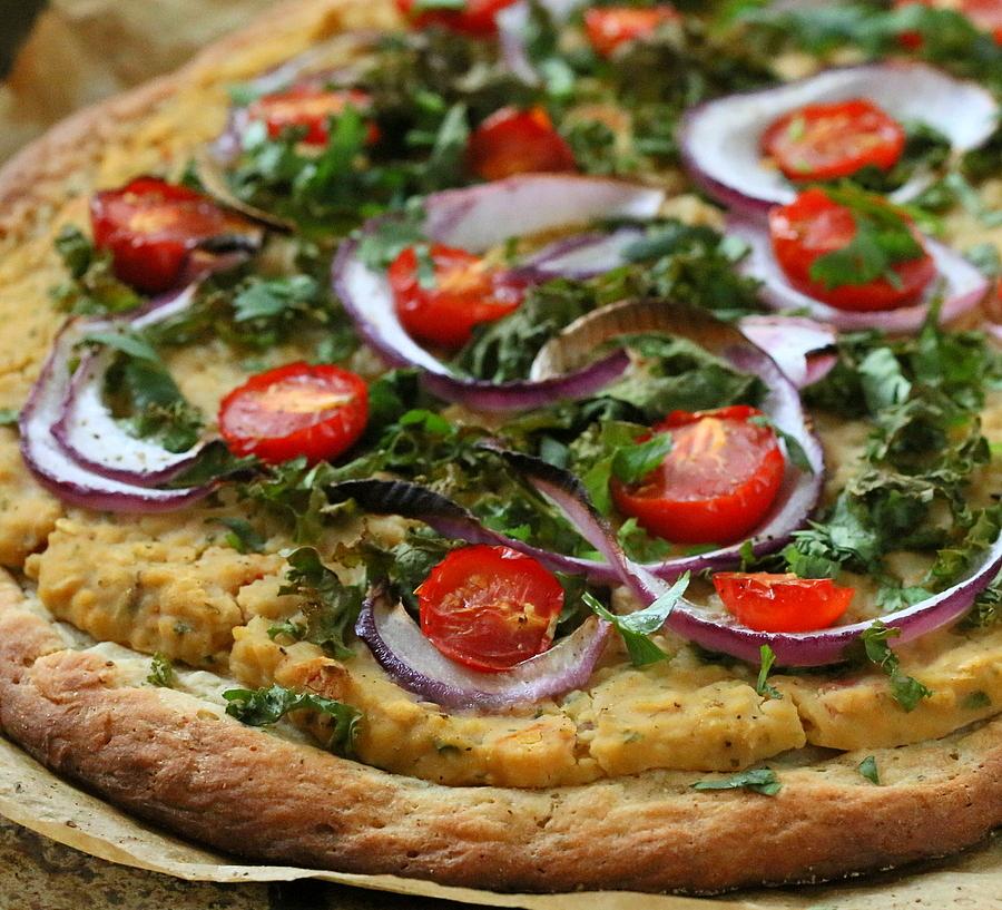 ... Chana Masala Hummus pizza , Exhibit 2 Split pea hummus pizza