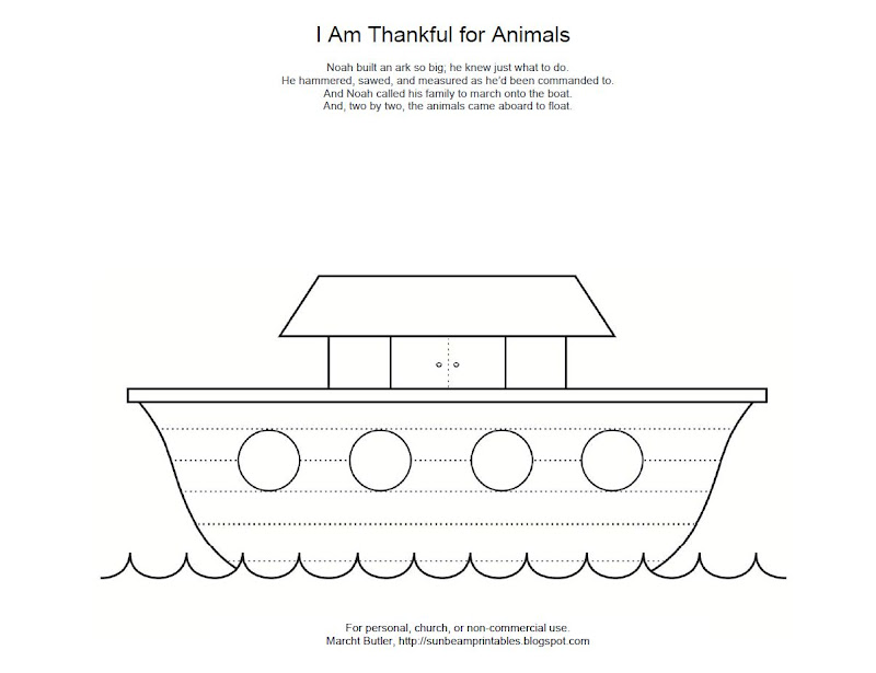 Noah's Ark Coloring Page for Lesson 12: I Am Thankful for Animals title=