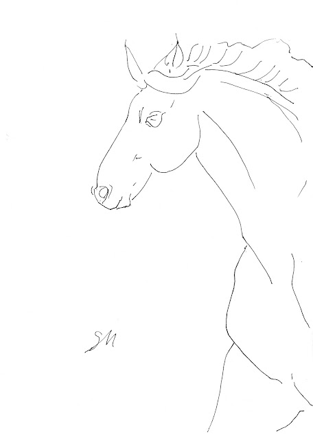 horse, line, drawing, gallop, arte, S. Myers, Sarah Myers, sketch, study, art, artist, rapid, animal, morgan, mane