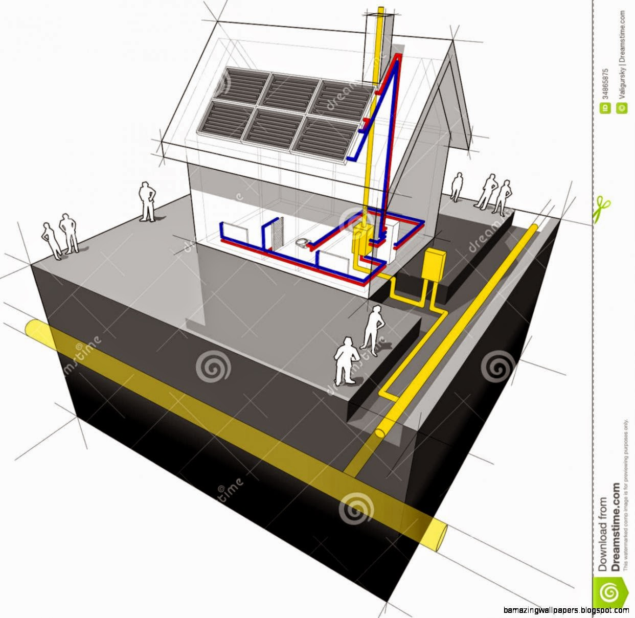House With Natural Gas Heating And Solar Panels Diagram Royalty