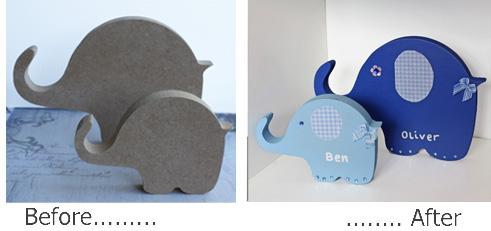 Wooden name plaques personalised free standing elephants door wall kids