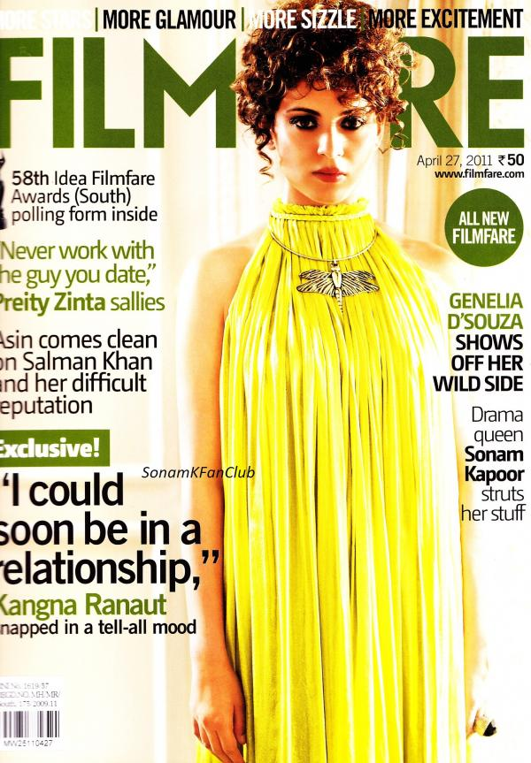 Kangana Ranaut On FilmFare Magazine Cover April 2011