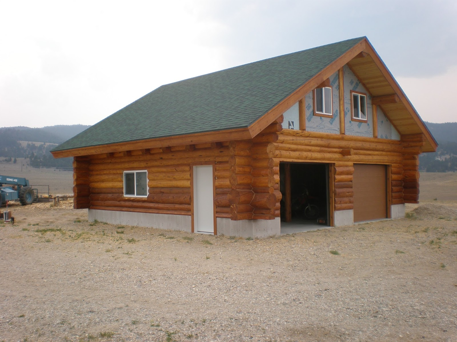 Curtis pdf plans garage cabin plans 8x10x12x14x16x18x20x22x24 for Log home plans with garage