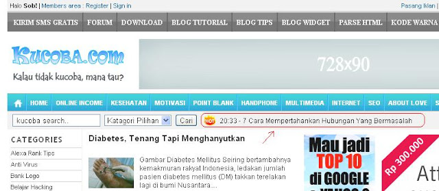 Memasang RSS Ticker Javascript Hotline News