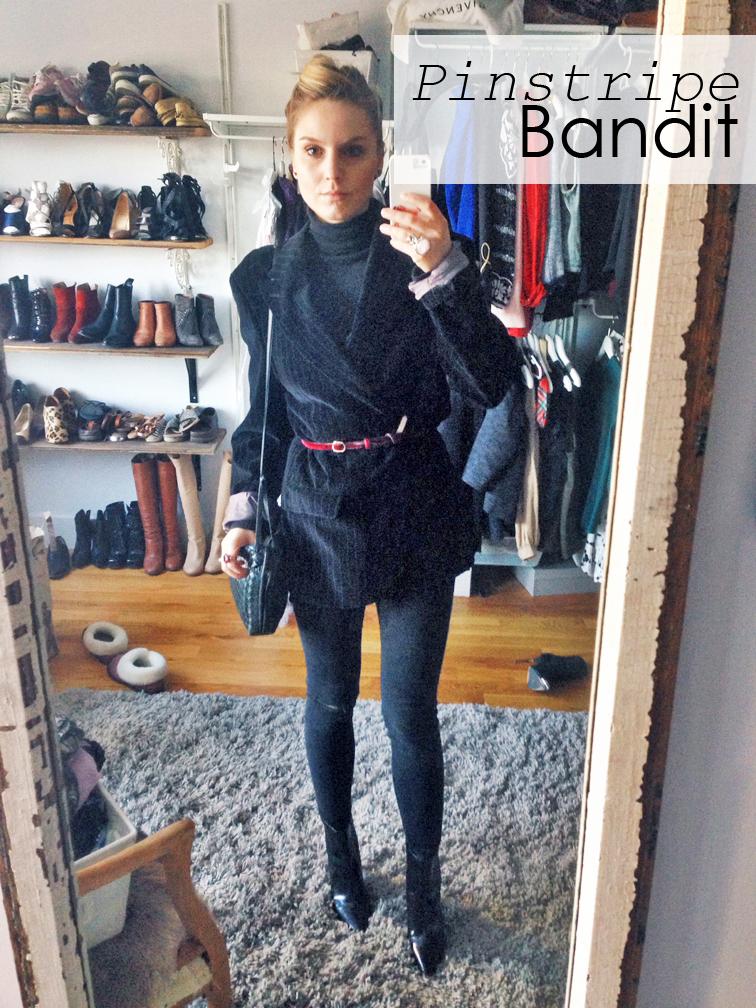 Pinstripe bandit, pinstripe velvet blazer, menswear, asos denim black jeans red velvet thin belt, Bottega Veneta crossbody bag, Pour la Victoire boots
