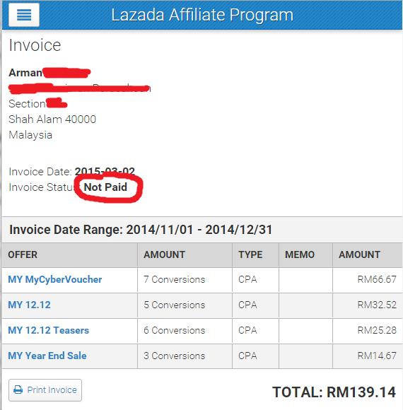 Duit Online Dari Invoice Ke 2 Lazada Dah Masuk