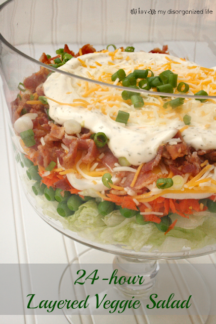 24-hour Layered Veggie Salad {i love} my disorganized life #flavorsodsummer #virtualpicnic