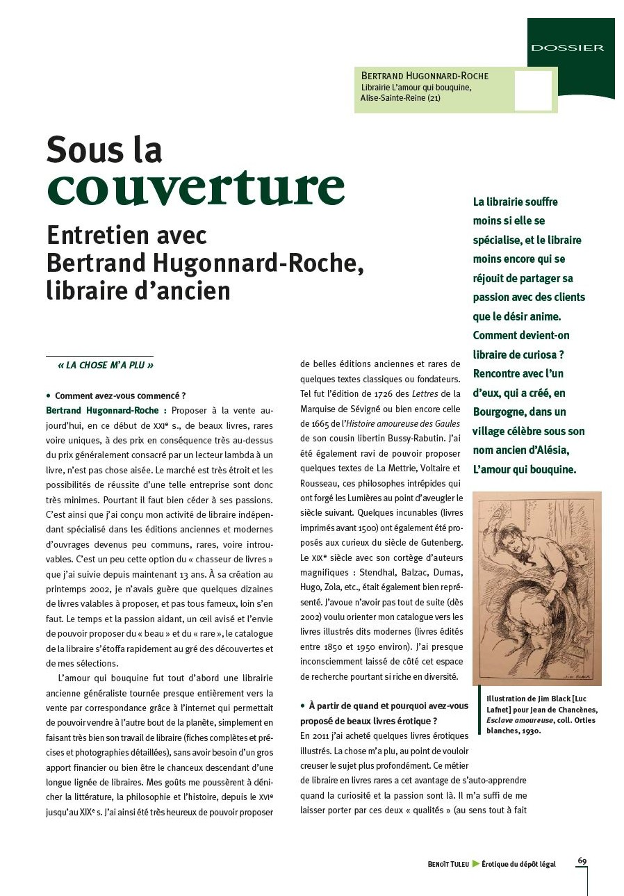 Sous la couverture, entretien avec Bertrand Hugonnard-Roche