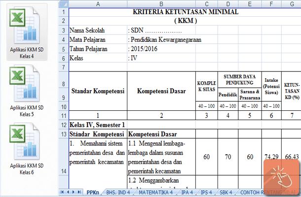 Aplikasi KKM SD Kelas 4 5 6 dengan Microsoft Excel