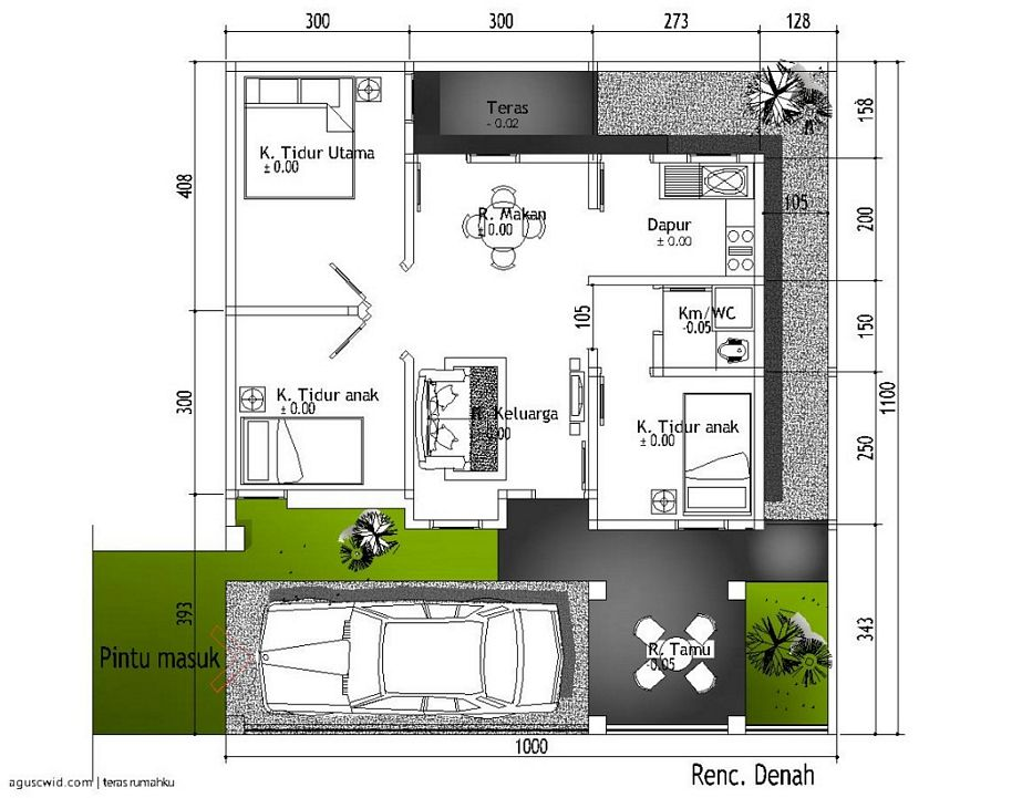 model denah rumah type 36 renovasi unik