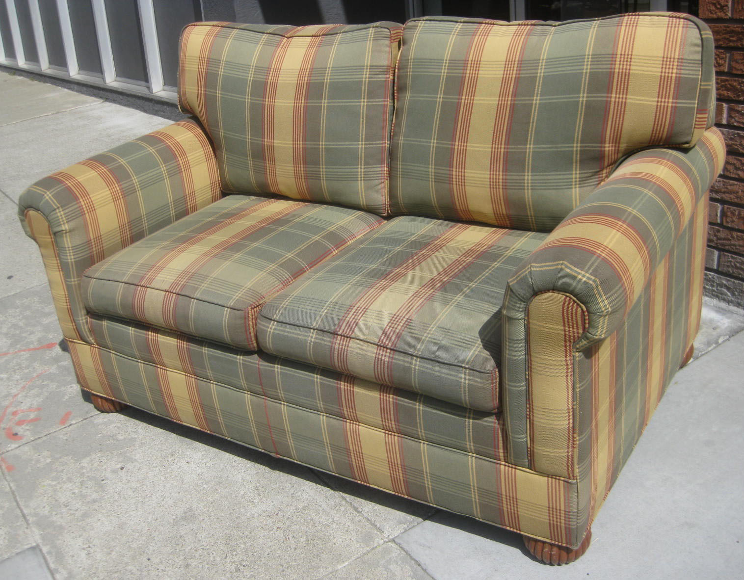 Uhuru Furniture Collectibles Sold Plaid Loveseat 90