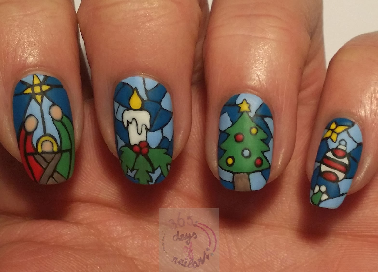 365+ days of nail art: Day 335) Stained glass design Christmas