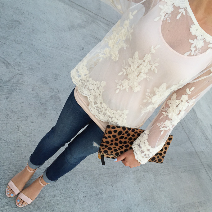Loft distressed denim jeans BP luminate blush sandals Clare V leopard foldover clutch Forever 21 floral embroidered mesh top