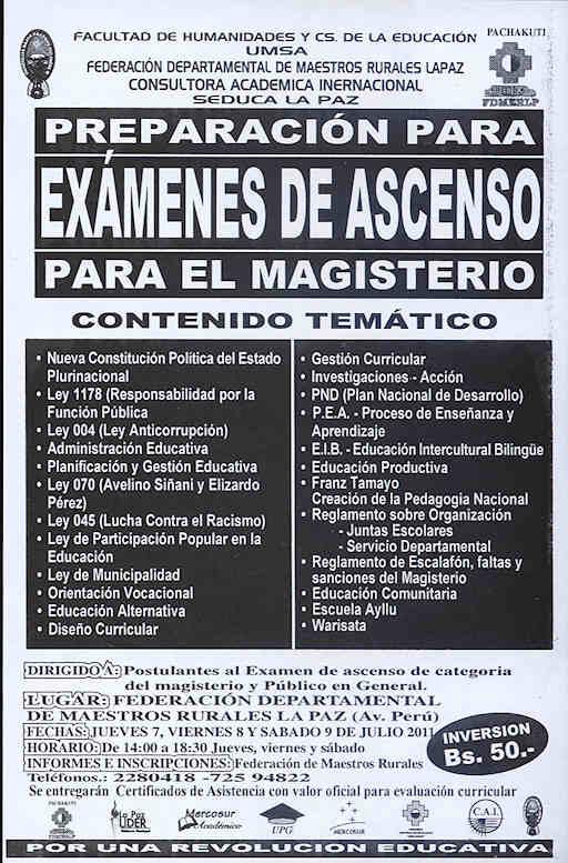 de Ascenso para el Magisterio urbano y rural - La Paz, Bolivia 9 de