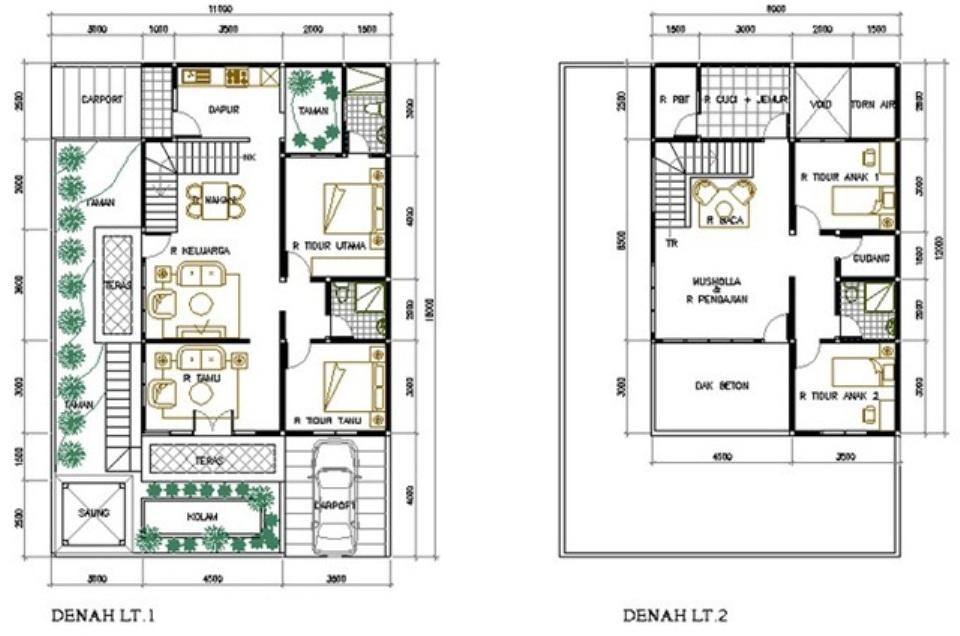 contoh denah rumah mewah bertingkat desain terbaru model