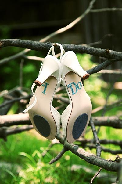 I do en la suela del zapato de novia