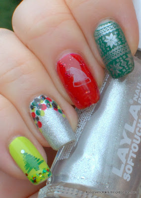 Christmas Skittle nails with Layla Marshmallow Twilight, Essence and KBShimmer Strung Out and Bundle Monster stamping
