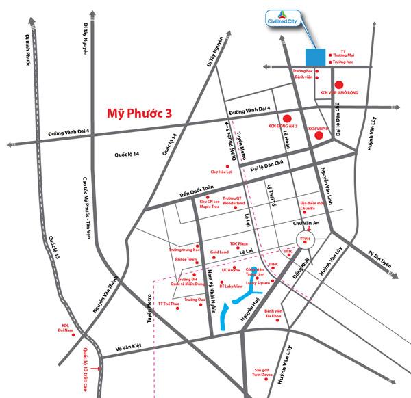 Sơ đồ vị trí dự án Khu Đô Thị Civilized City
