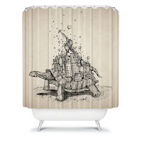 Brandon Dover Tortoise Town Shower Curtain