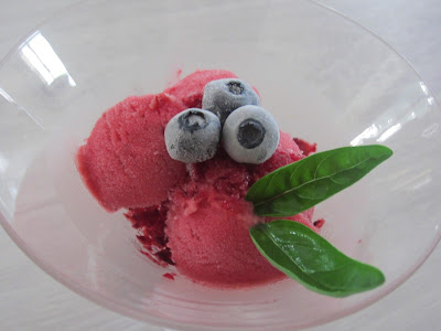 Sorbet fruits rouges et basilic