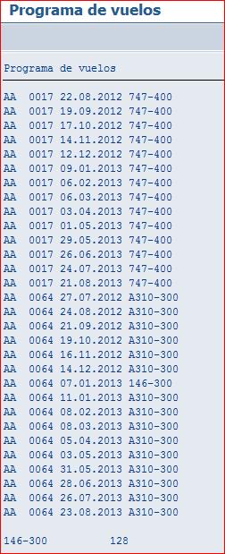 Listado del programa de vuelos