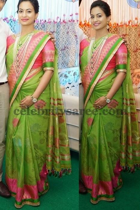 Gorgeous Lady Parrot Green Silk Sari