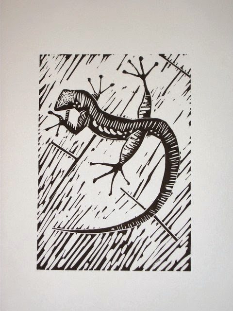 Lizard linocut
