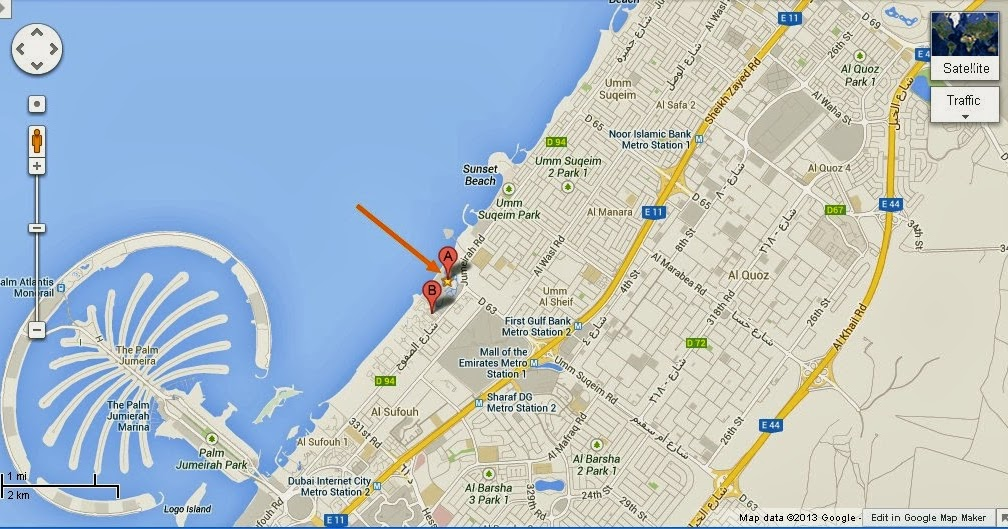 Detail madinat theatre dubai location map uae dubai for Map of dubai hotels