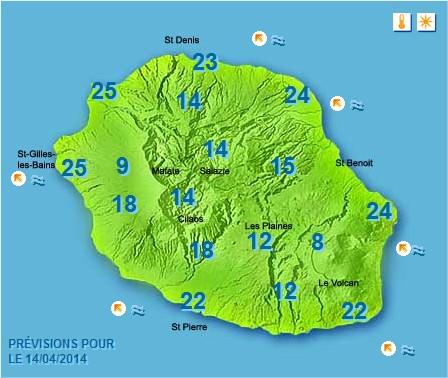 Prévisions météo Réunion pour le Lundi 14/04/14