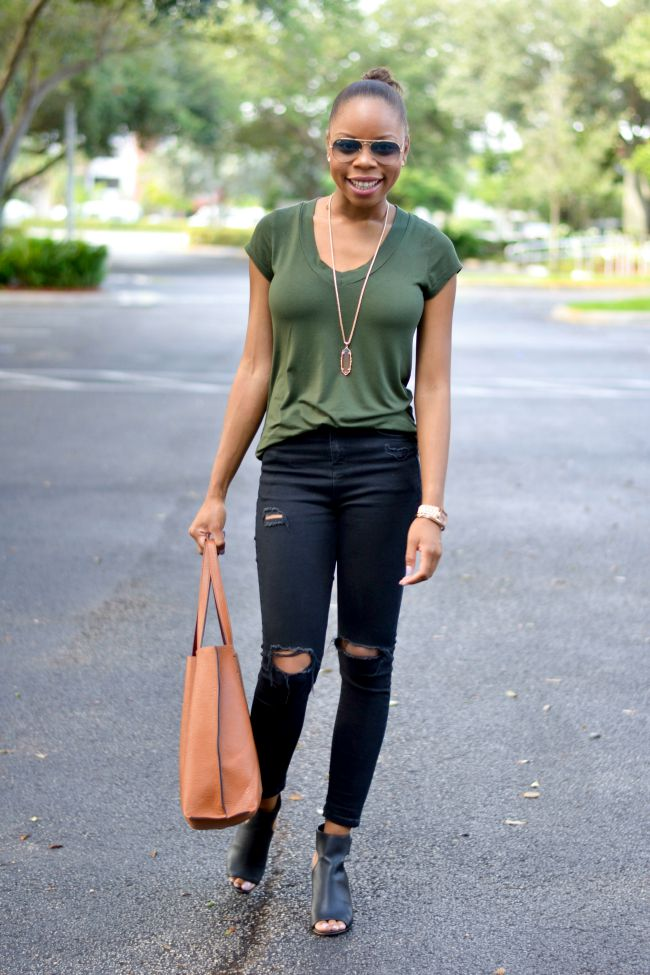 Olive & Black with Cognac Tote   Summer to Fall