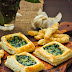 puff pastry with spinach and scallions in alfredo sauce