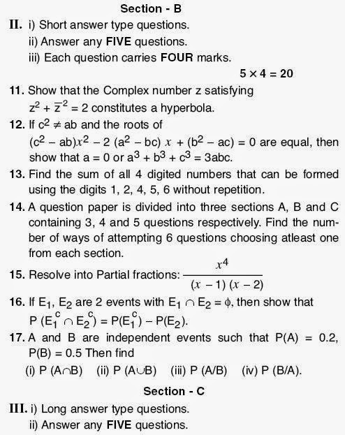 intermediate first year maths previous question papers Free download of cbse class 12 maths previous year question paper solved by an expert teacher to register live online maths tuition to clear your doubts.