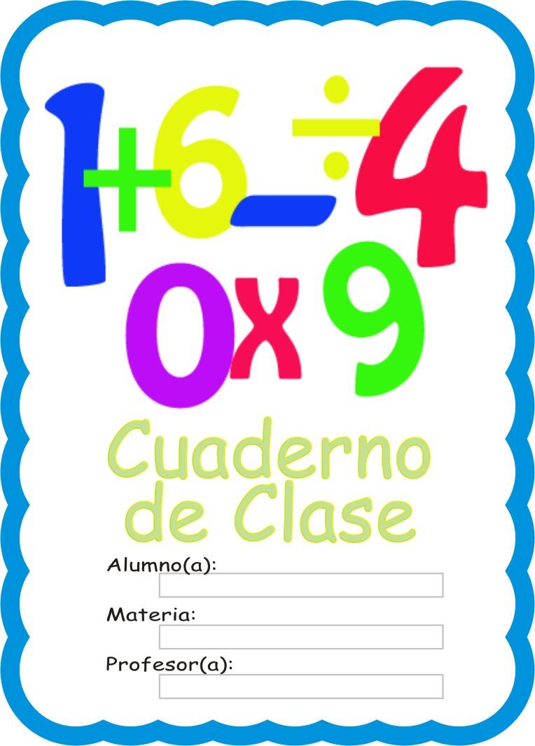 Caratulas para Cuadernos: Numeros en Operaciones Matematicas