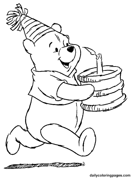 Happy Birthday Winnie the Pooh Coloring Pages