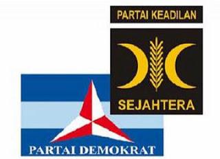 foto bendera demokrat dan pks