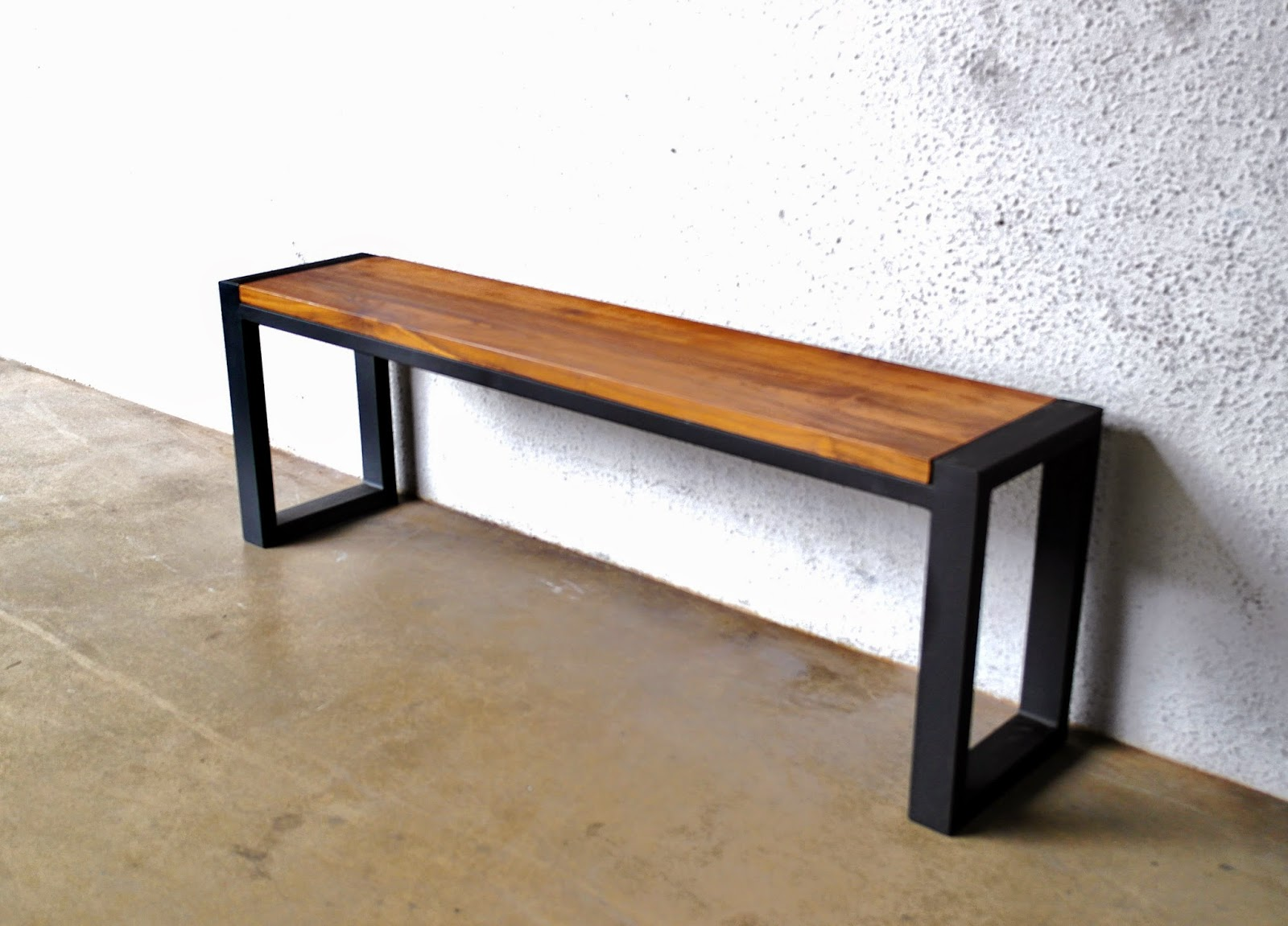 A More Rugged Industrial Inspired Bench Broad Metal Legs On 3 Cm